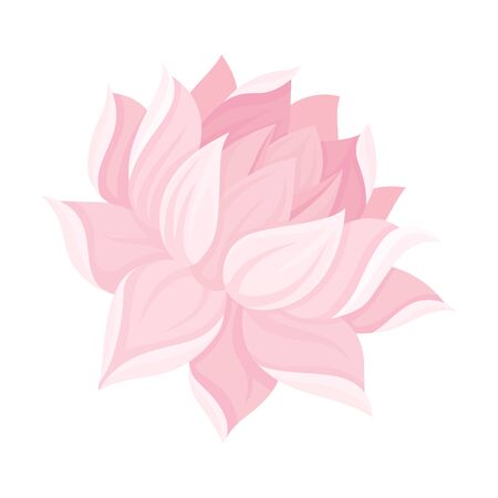 Magnificent Waterlily Flower Bud With Tender Petals Vector Illustration. Scaled Decorative Element Concept