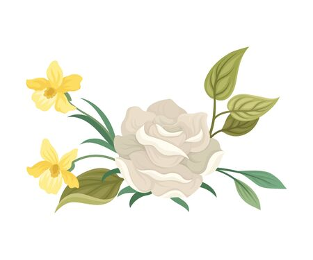 White Roses Decorated Vector Element. Botanical Graphic Composition