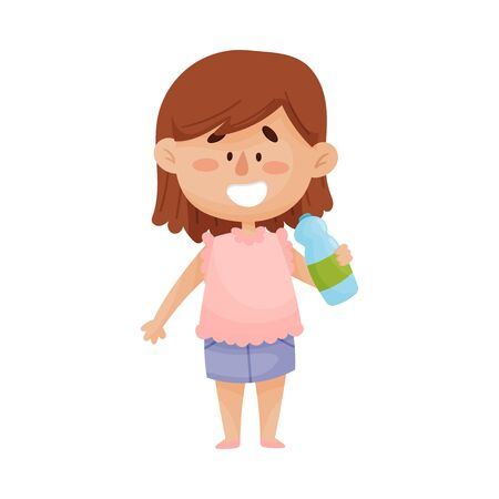 Glückliches dunkelhaariges kleines Mädchen, das steht und Wasser aus der Plastikflasche-Vektor-Illustration trinkt Vektorgrafik