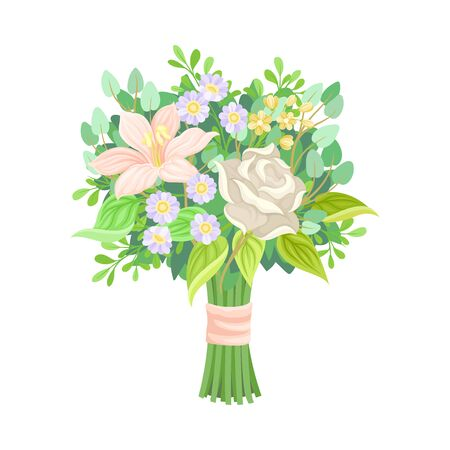 Colorful Bridal Bunch of Flowers Tied With Silk Ribbon Vector Illustration