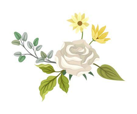 Floral White Rose Vintage Bording Decorative Vector Element