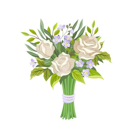 Bridal Bouquet Vector Illustration. Tied With Ribbon Bunch of Flowers
