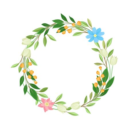 Various Wildflowers Twisted in Circle Flame Vector Illustration