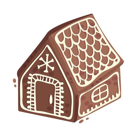 Gingerbread house. Vector illustration on a white background.