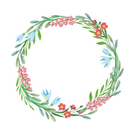 Wildflowers Vector Border. Colorful Decorated Wreath Element Standard-Bild - 133437969