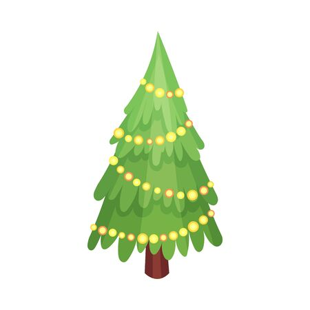 Christmas tree. Vector illustration on a white background.