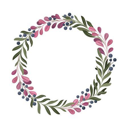 Colorful Berry Ornamental Vector Border. Graphic Composition of Decorative Bilberry Stock Illustratie