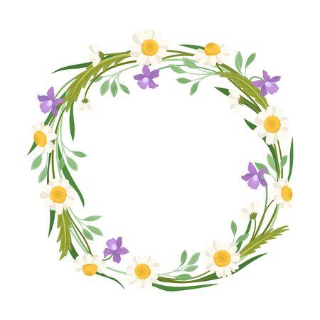 Wildflowers Vector Border. Colorful Decorated Wreath Element Standard-Bild - 133438041