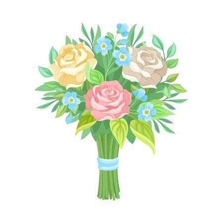 Cute and Elegant Wedding Bouquet Vector Illustration