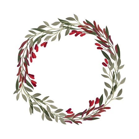 Beautiful Wreath Composed of Berries and Leaves Vector Illustration Stock Illustratie