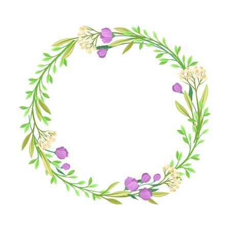 Wildflowers Vector Border. Colorful Decorated Wreath Element Standard-Bild - 133438046