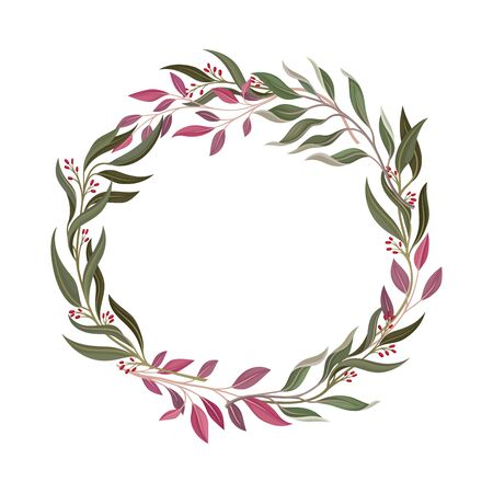 Colorful Berry Ornamental Vector Border. Graphic Composition of Decorative Cranberry