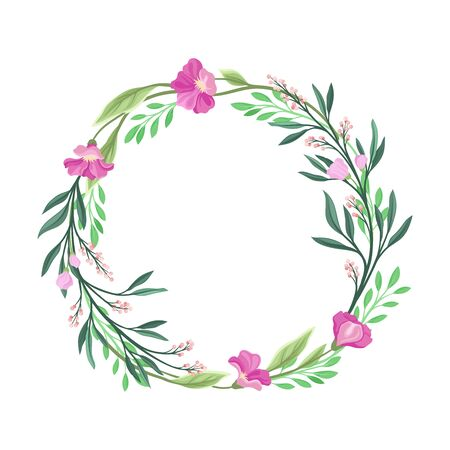 Wildflowers Vector Border. Colorful Decorated Wreath Element Standard-Bild - 133438064