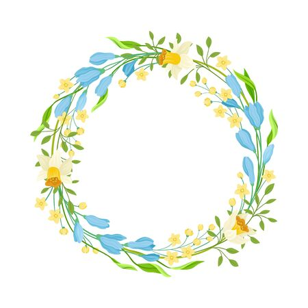Various Flowers Twisted in Circle Flame Vector Illustration