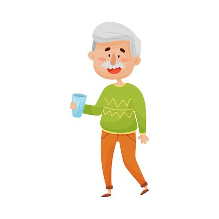 Smiling Grey-Haired Senior Man Standing and Holding a Glass of Water in His Hands Vector Illustration