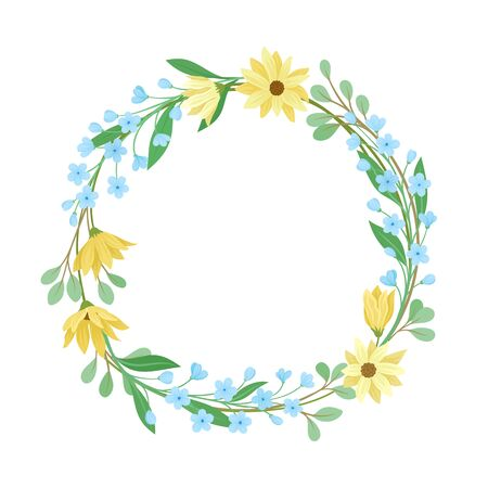 Wildflowers Vector Border. Colorful Decorated Wreath Element