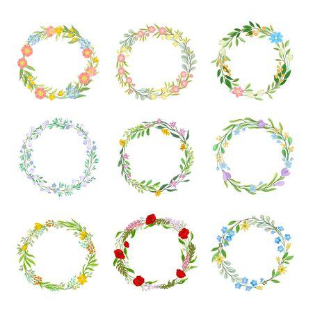 Wildflowers Circle Frames Vector Set. Circular Botanical Wreath Collection. Flourish Border Concept Standard-Bild - 133438080