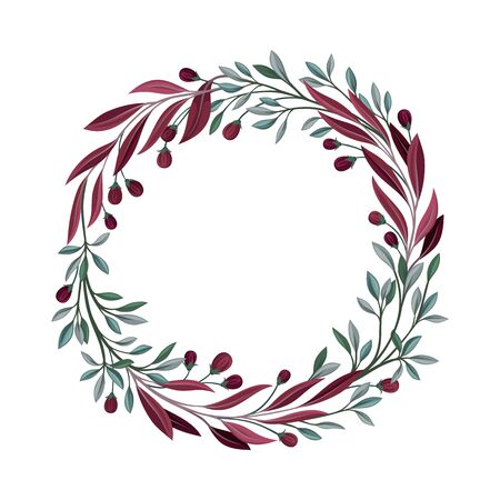 Elegant Wreath With Berries and Greenery Vector Element. Detailed Decorated Cycle