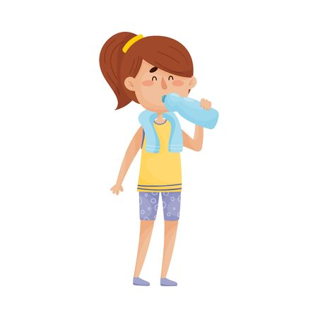 Young Dark-haired Girl Character Standing and Drinking Still Water From Bottle Vector Illustration.