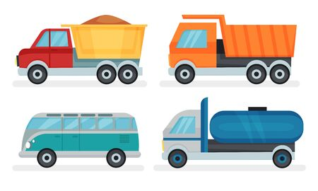 Set Of Urban And Industrial Transport Vector Illustrations Stok Fotoğraf - 133438096