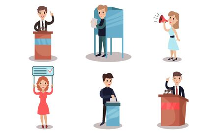 A politician in a business suit makes promises from the rostrum to his voters. Women with a propaganda poster and a loudspeaker. A man participates in the voting process