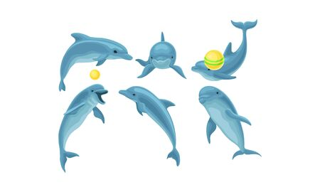 Set of funny blue dolphins jumping, tumbling and performing different tricks with balls for show. Vector illustration set, cartoon character, isolated on white background.