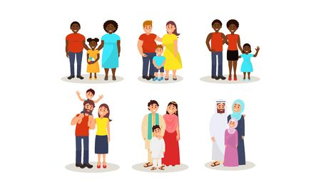 Set with different ethnic families with husband, wife and one child. Caucasian, african, indian and muslim pairs with their children. Vector illustration, isolated on white background. Ilustracja