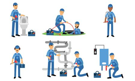 Plumbers in blue uniform installing and repairing the pipes and fittings of water supply, toilet bowl, sanitation, or heating systems with special tools Иллюстрация