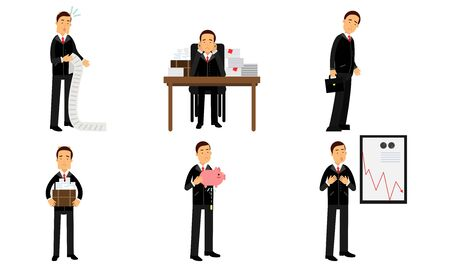 Failures Of An Office Worker. Presentation Of The Company Financial Declining Diagram Vector Illustration Set Isolated On White Background