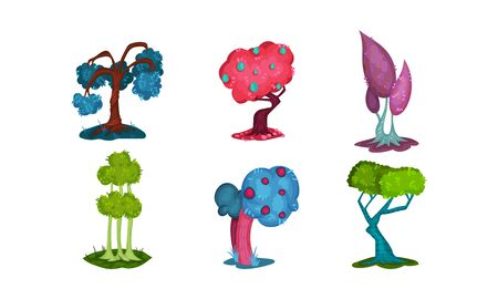 Fantastic multicolor set of six trees and plants of different sofisticated shape and colors, bright green, pink, purple, blue. Vector illustration set, for any design. Cartoon style, isolated on white background. Ilustrace
