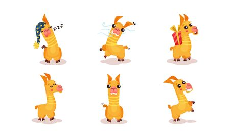 Yellow LLamas With Different Funny Emotions In Various Poses Vector Illustrations Cartoon Character