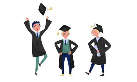 Three happy guys in academic dress with mortarboard have obtained a university degree and celebrate graduation