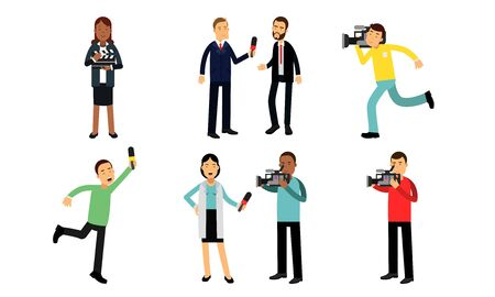 Journalists And Cameraman Filming News Or Movie. Assistant director With Clapperboard Vector Illustration Set Isolated On White Background Illustration