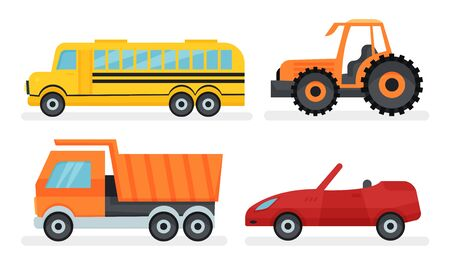 Some types of urban and industrial transport. Yellow shcool bus, cabriolet, truck and tractor. Flat vector illustration set, isolated on white background. Иллюстрация