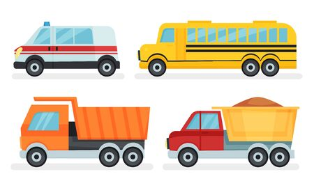 Different kinds of urban and industrial transport. Ambulance car, yellow shcool bus and two trucks with cargo. Vector illustration set, isolated on white background.