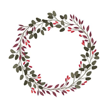 Elegant Wreath With Berries and Greenery Vector Element