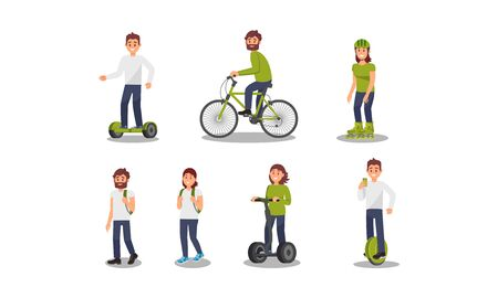 Respect for the environment. Men and women walking, riding a segway scooter, a smart balance wheel, bicycle, roller skate, or other ecological transport Ilustrace