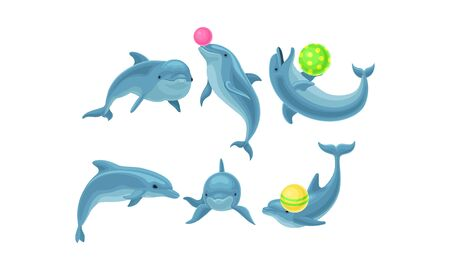 Cute Blue Dolphins Made Tricks With Balls Vector Illustration Set