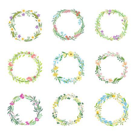 Wildflowers Circle Frames Vector Set. Circular Botanical Wreath Collection. Flourish Border Concept