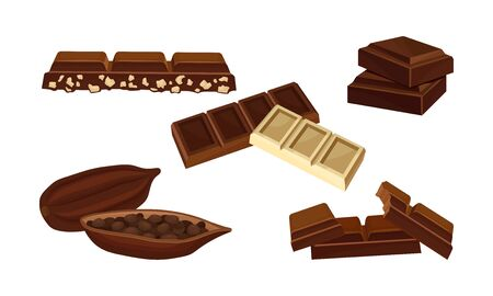 Set devoted to chocolate of different kinds. Peices of milk white chocolate, dark, usual, with nuts and cocoa fruit. Vector illustration, isolated on white background.