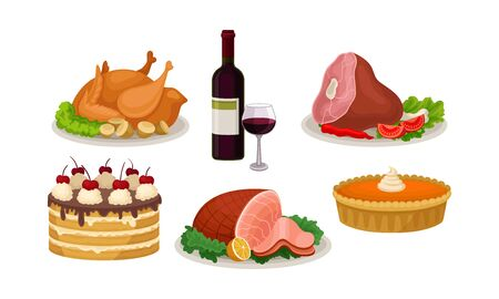 Holiday dinner table. Baked beef, pork or turkey, served with potatoes, fresh tomatoes, lettuce and lemon. Cream pumpkin pie, cake with chocolate topping and cherries. Bottle of red wine and a glass