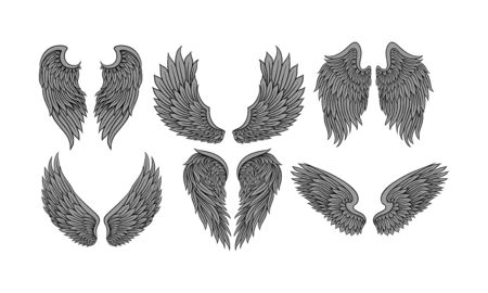 Set of six pairs of dark grey wings drawing in tattoo style with different shapes. Monochromatic old school drawings. Flat vector illustration set, isolated, on white background.