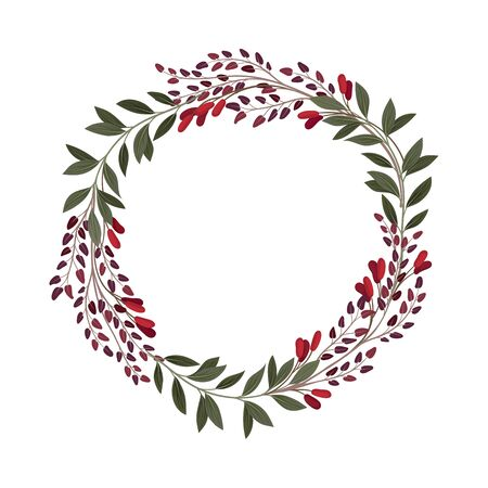 Wreath Ornamental Composition With Berries and Green Branches Vector Element. Decorated Border Concept