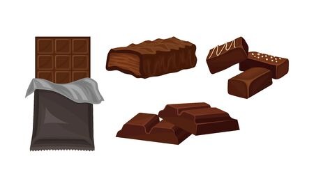 Set with different kinds of chocolate. Peices, bars and stick packaged. Addiction concept. Vector illustration, isolated on white background. Illusztráció