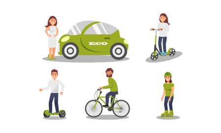The girl cares about the environment and chooses an electric car. People ride a scooter, bicycle, roller skates and smart balance wheel. Environmental concept