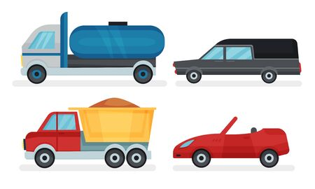Four different urban and industrial transport vehicles. Tank, truck, cabriolet and catafalque. Flat vector illustration set, isolated on white background.