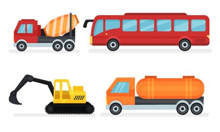Four Different Kinds Of Urban And Industrial Transport Vehicles. Truck, red bus, tank and excavator. Flat vector illustration set, isolated on white background. Stok Fotoğraf - 133438186
