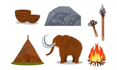 Attribute und Werkzeuge prähistorischer Menschen. Keramik, Höhlenmalereien, eine Hütte aus Häuten, ein Mammut, ein Lagerfeuer, selbstgebaute Waffen aus Stöcken und Steinen Vektorgrafik