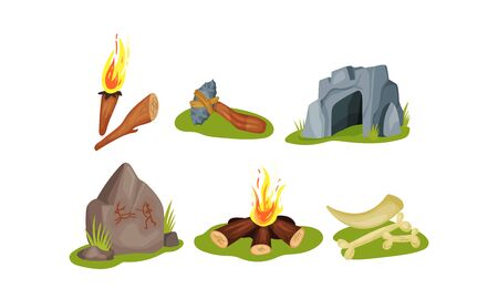 Prehistoric primitive people daily life items. A torch, a homemade hammer from a club and a stone, a cave for housing, cave paintings, a bonfire, mammoth bones and tusks as trophies after the hunt