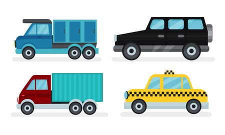 Set of different kinds of urban and industrial transport. Two vans, yellow taxi and black crossover. Flat vector illustrations, isolated on white background.